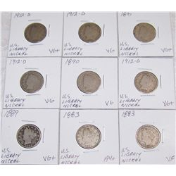 (9X$) U.S. Liberty Nickels, VG+ to AU+, 1883-1912D.