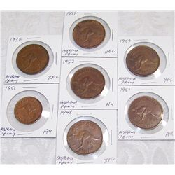 (7X$) Rare Australian Large Cents and Half Cent.
