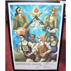 Yuroz Hand-Signed Rock and Roll Marathon Poster.
