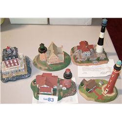 Five Danbury Mint Collectible Lighthouses