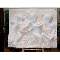 GRECIAN STYLE BAS RELIEF WALL HANGING DEPICTING 4 CHERUBS