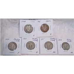 (6X$) BARBER & STANDING LIBERTY QUARTERS