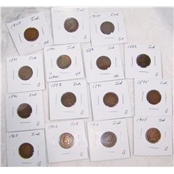 (15X$) INDIAN CENTS AG-VF 1882-1907 15 DIFFERENT DATES