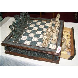 CARVED CHESS BOARD & PIECES (SOME PIECES MISSING OR BROKE) INCLUDES SECONDARY CHESS PIECES