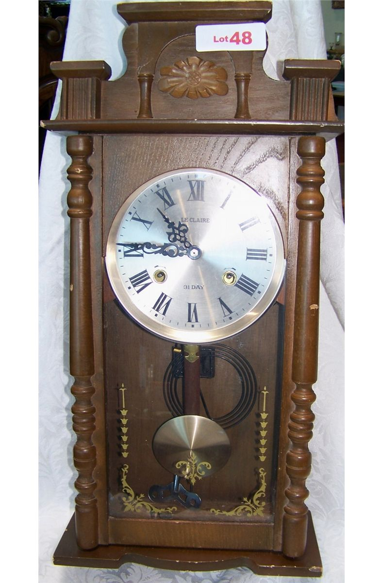 Leclair 31 day wood wall mounted vintage clock image 1 leclair 31 day wood wall mounted vintage clock amipublicfo Image collections