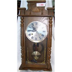 LeCLAIR 31 DAY WOOD WALL MOUNTED VINTAGE CLOCK
