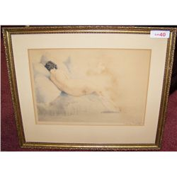 LOUIS ICART ORIGINAL AQUA-TINT ETCHING 1930, FRAMED BEHIND GLASS WITH WINDMILL WATERMARK