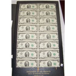 "Dept. of Treas. Uncut ""16-Sheet"" of $2 Star Notes, Series 1976"