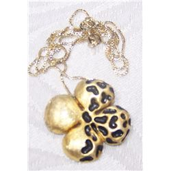 GOLD PLATED STERLING SILVER NECKLACE & FLOWER PENDANT
