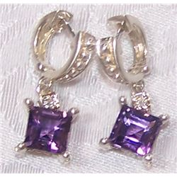 GORGEOUS VICTORIAN STYLE AMETHYST & DIAMOND EARRINGS, WEIGHS 6.9 GRAMS