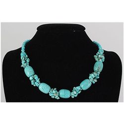 Natural 346.18ctw Turquoise Sterling Silver Necklace