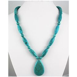 Natural 372.40ctw Turquoise Sterling Silver Necklace
