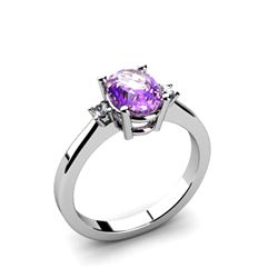 Amethyst 1.25 ctw Diamond Ring 14kt White Gold