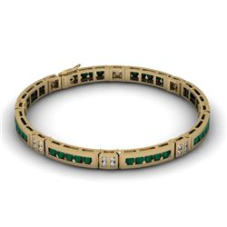 Emerald 2.56 ctw & Diamond Bracelet 14kt W OR Y Gold