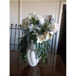 "White Cermanic Vase/Flowers 11"" wide x 16"" tall Vase with artificial flowers"