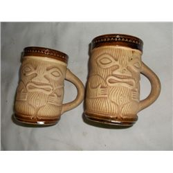 2 vintage Paul Marshall PMP Designs handled full-body Tiki mug tracking#81