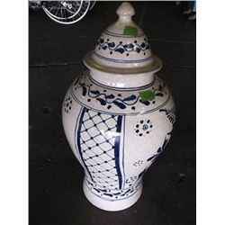 huge Talavera Mexican pottery blue and white lidded floor vase  tracking 412