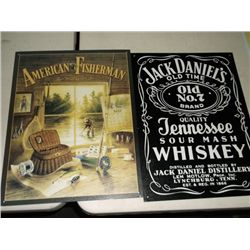 "American fisherman & Jack Daniels 15"" x 12"" reproduction signs"