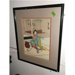 geisha theme framed Japanese woodblock print tracking#160