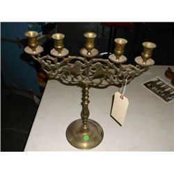 5 candle brass candle holder