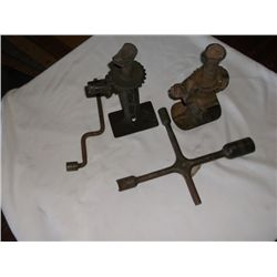 Old auto jacks and lug wrenches
