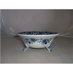 "7"" Round 2 1/2"" Tall Footed Bowl Delft China made in Holland"