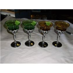 set of 4 art deco vintage Farber Bros. chrome cocktail glasses with Cambridge green and amber glass