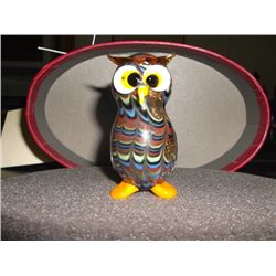 "Fitz & Floyd Glass Menagerie art glass owl in box owl is 2"" tracking#175"