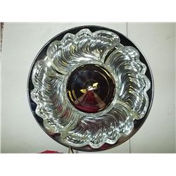 "Chrome & Glass Buffet server 19"" round"