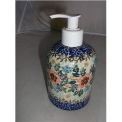 "3"" Wide 6"" Tall soap dispenser Ceramika Artystyczna Artistic Ceramics Hand made in Poland"