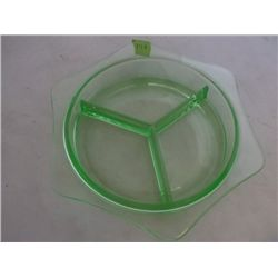 "Green vaseline Depression glass Vintage green vaseline Depression glass divided dish 9"" round tracki"