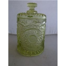 "yellow pressed glass jar 5"" x 9"" approx size tracking 318"