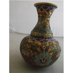 "Chinese cloisonne vase with gold tone background 5"" round 6"" tall tracking#121 (Champleve)"