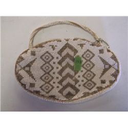 "Czech beaded purse Antique Czech beaded purse oblong shape with handle 7"" x 5""  tracking#72"