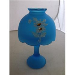 Westmoreland glass candle lamp Vintage blue Westmoreland glass candle lamp with daisies decoration 5