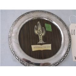 1970 silverplated round trophy tray Charros Del De 1970 silverplated round trophy tray Charros Del D