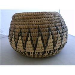 "woven basket with geometric decoration APPROX 12"" X 8""  tracking 309"