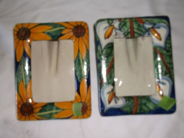 Mexican Talavera Pottery Sunflowers Picture Frame Mexican Talavera