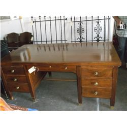 Large Vintage Wood Desk 7 Drawer Desk includeing two pull out writeing boards and a cash drawer appr