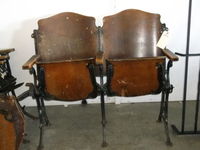 ... Image 2 : Vintage Theater Chairs Pair of Vintage Wood and Iron Theater  Chairs - Vintage Theater Chairs Pair Of Vintage Wood And Iron Theater Chairs