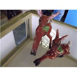 pair of vintage burgundy California pottery deer pair of vintage burgundy California pottery deer fi