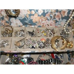 Large Jewelry Box with Jewelry Necklaces, watches, bracelets,  earrings some signed pieces