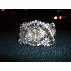 "1950s Rhinestone Bracelet Watch 1 3/8"" wide"