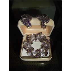 1930s Lavender Rhinestone and amethyst clip on earring and broach set