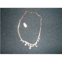 "1950s Rhinestone necklace 16"" long teardrop rhinestones"