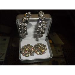 "2 pair of 1950s clip on earrings Rhinestone tear drops 2"" and irredescent rhinestone 3/4"""