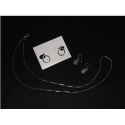 Sterling Silver Necklace & Earrings Sterling Silver Necklace & 2-pair Earrings all marked .925