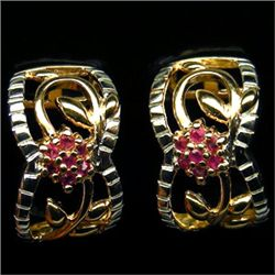 PAIR OF 14K GOLD PLATED RUBY AND STERLING SILVER EARRINGS - 22.45 CTS.