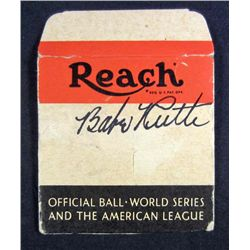 BABE RUTH AUTOGRAPHED REACH BASEBALL BOX TOP W/ AAU COA