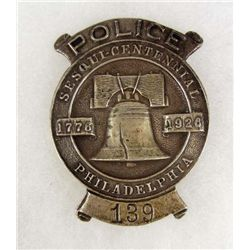 PHILADELPHIA SESQUI-CENTENNIAL #139 POLICE LAW BADGE